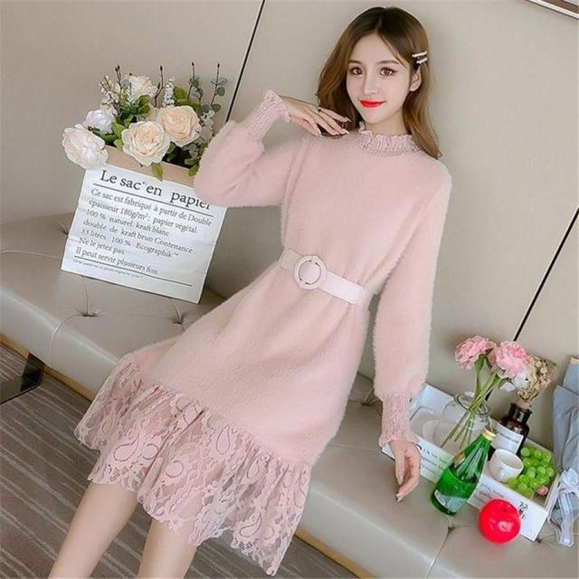 2020 New Dress Long Sleeved  Accept Waist Lace Knitted Sweater Knit Dress Lady