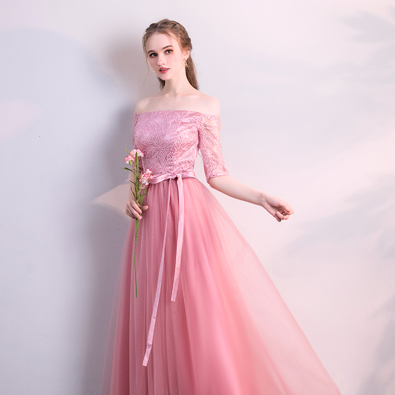 Pink Bridesmaid Dresses Junior Long Elegant Guest Wedding Party Floor-Length Tulle Sexy Dress Prom Azul Royal New Years Eve