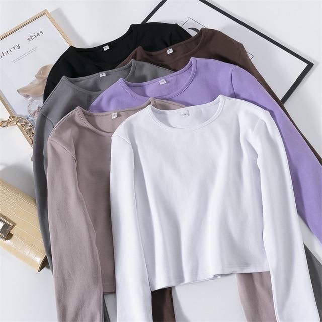 GCAROL 2021 Women'sets 2 Pcs 95% Cotton Sexy Crop T-shirt Hip Lift Yogo Legging Stretch Fitness Breath Tees Full Length Pants 5