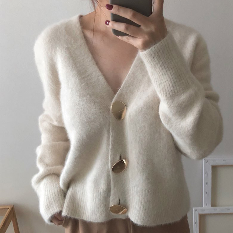 Short Wool Cardigan Cashmere Crop Sweater Winter Wool Ladies V Neck Jacket Female Loose  Casual Thick Autumn Clothes Korean Knit