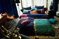 Designer Brand Luxury Royal Bedding set Egyptian Cotton Embroidery Bed set 4Pcs King Queen size Bedsheet set Duvet cover