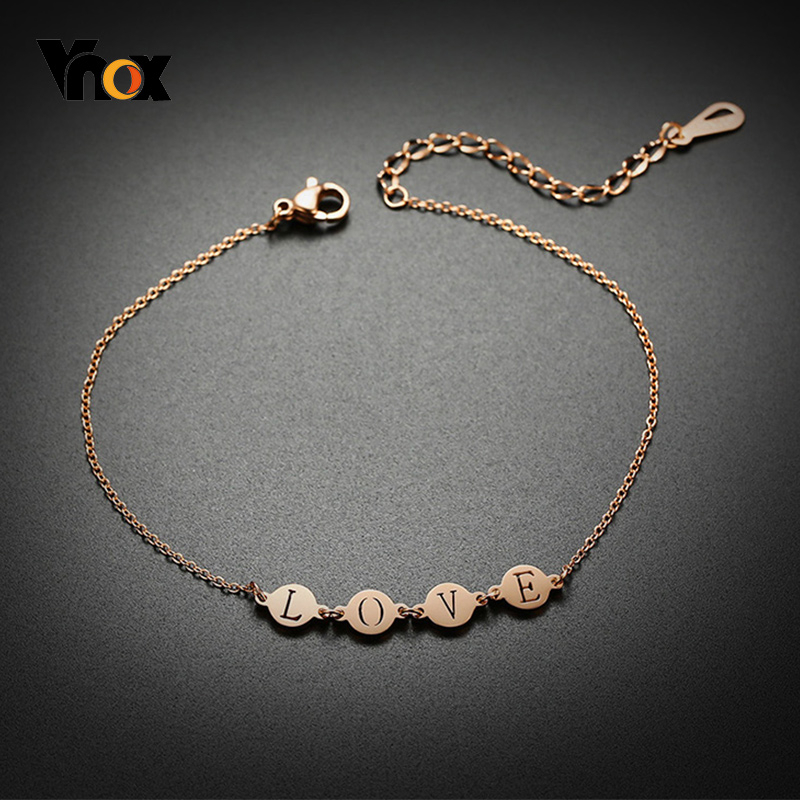 Vnox Temperament Summer Anklets for Women Jewelry with Initial Letters Anti Allergy Stainless Steel Link Chain Holidays Gifts