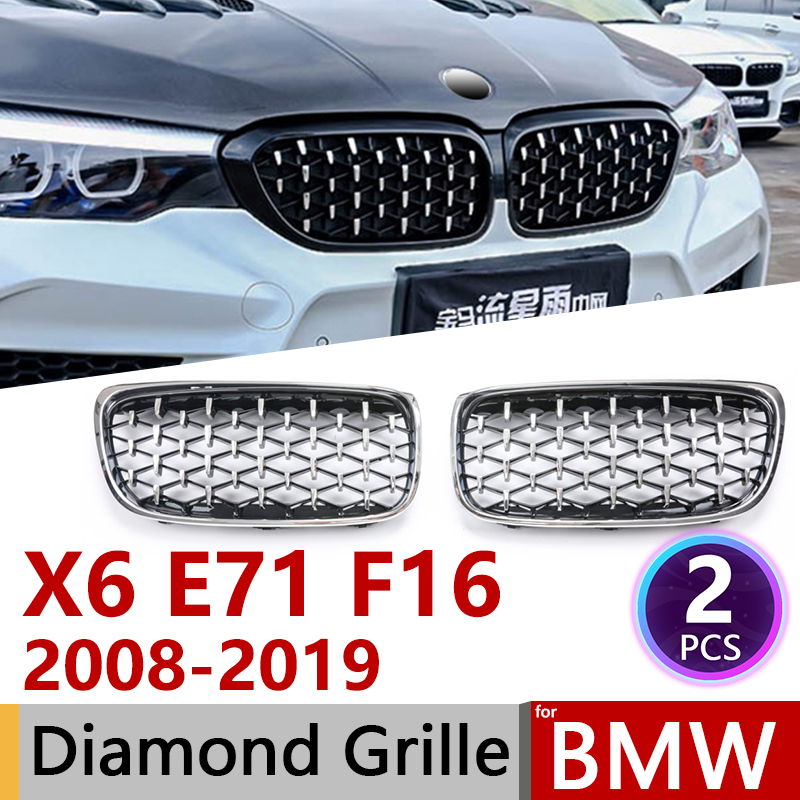 2pcs Diamond Grille Racing Grills For BMW X6 E71 F16 2008~2019 Trim Grill Car Accessories 2009 2010 2011 2012 2013 2014 2018
