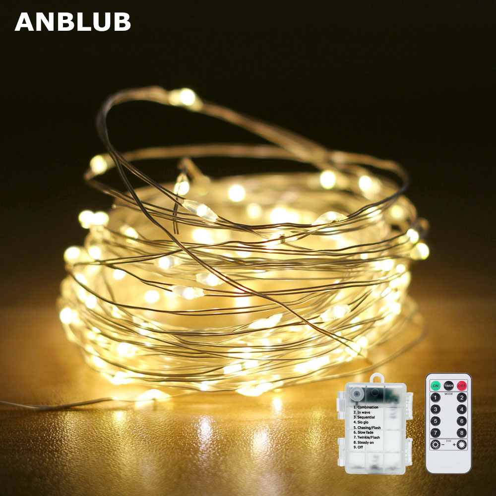 ANBLUB LED Fairy String Lights Waterproof 8 Modes 33ft 100 LED With Remote For Christmas Party New Year Outdoor Decoration