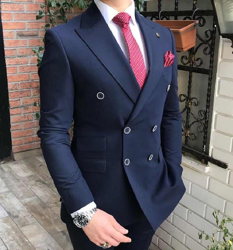 Granatowe garnitury męskie Slim Fit 2 kawałki podwójne piersi Prom smokingi ślubne Casual Business oficjalne garnitury Blazer + spodnie na ślub