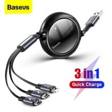 Baseus – câble Micro USB rétractable 3 en 1 Type C, charge rapide, pour iPhone 12 Pro, Samsung, Huawei, Xiaomi Mi