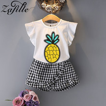 ZAFILLE Girls Clothing Summer Baby Girls Clothes Flare Sleeve Top+Plaid Pants Kids Clothes Outfits Pineapple Printed Girls Suits цена 2017