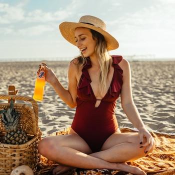 CUPSHE Burgundy Heart Attack Falbala One-piece Swimsuit Women Ruffle V-neck Monokini 2019 New Girls Beach Bathing Suit Swimwear 2
