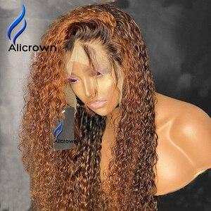 Image 3 - Alicrown 360 Lace Front Krullend Menselijk Haar Pruiken Voor Vrouwen Braziliaanse Haar Gebleekte Knopen Non Remy Gekleurde Haar 250% dichtheid