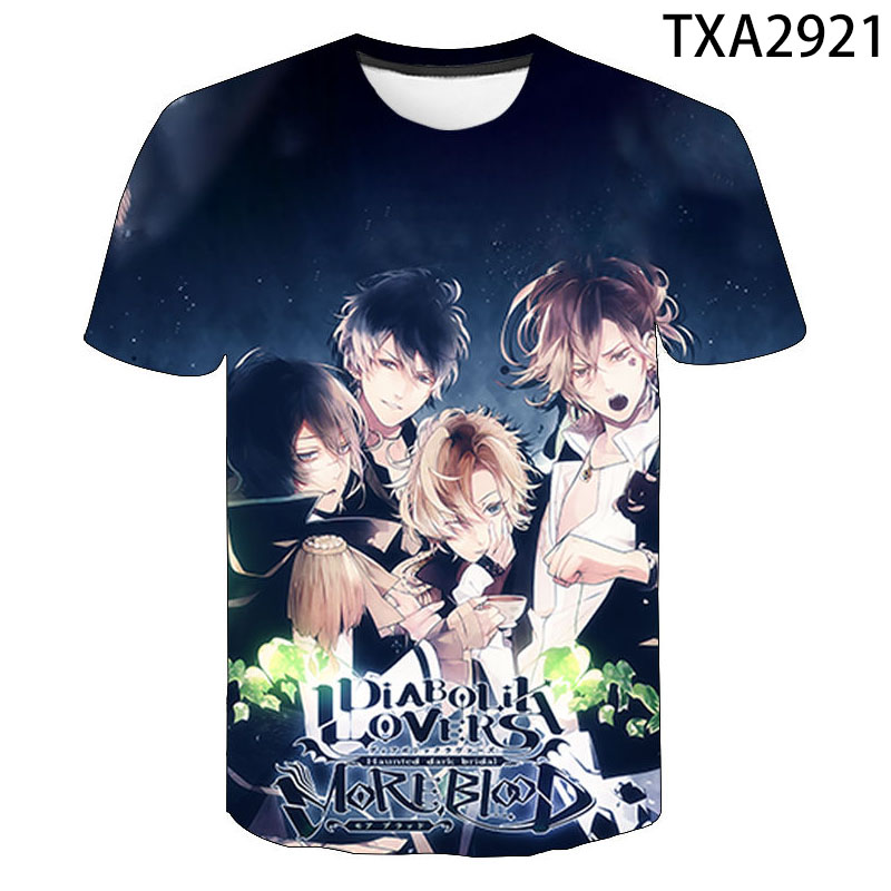 2020 New Diabolik Lovers T Shirt Sakamaki Kanato Ayato Komori Yui Anime 3D Print T-shirt Boy Girl Kids Summer Tops Cool Tee