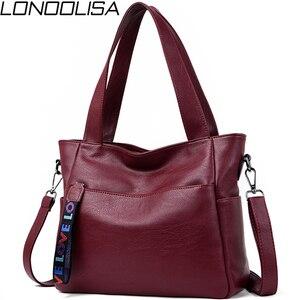 Image 1 - LONOOLISA фирменные сумки из натуральной кожи для женщин 2018, роскошные сумки, женские сумки, Дизайнерские Большие женские сумки на плечо, Основная сумка