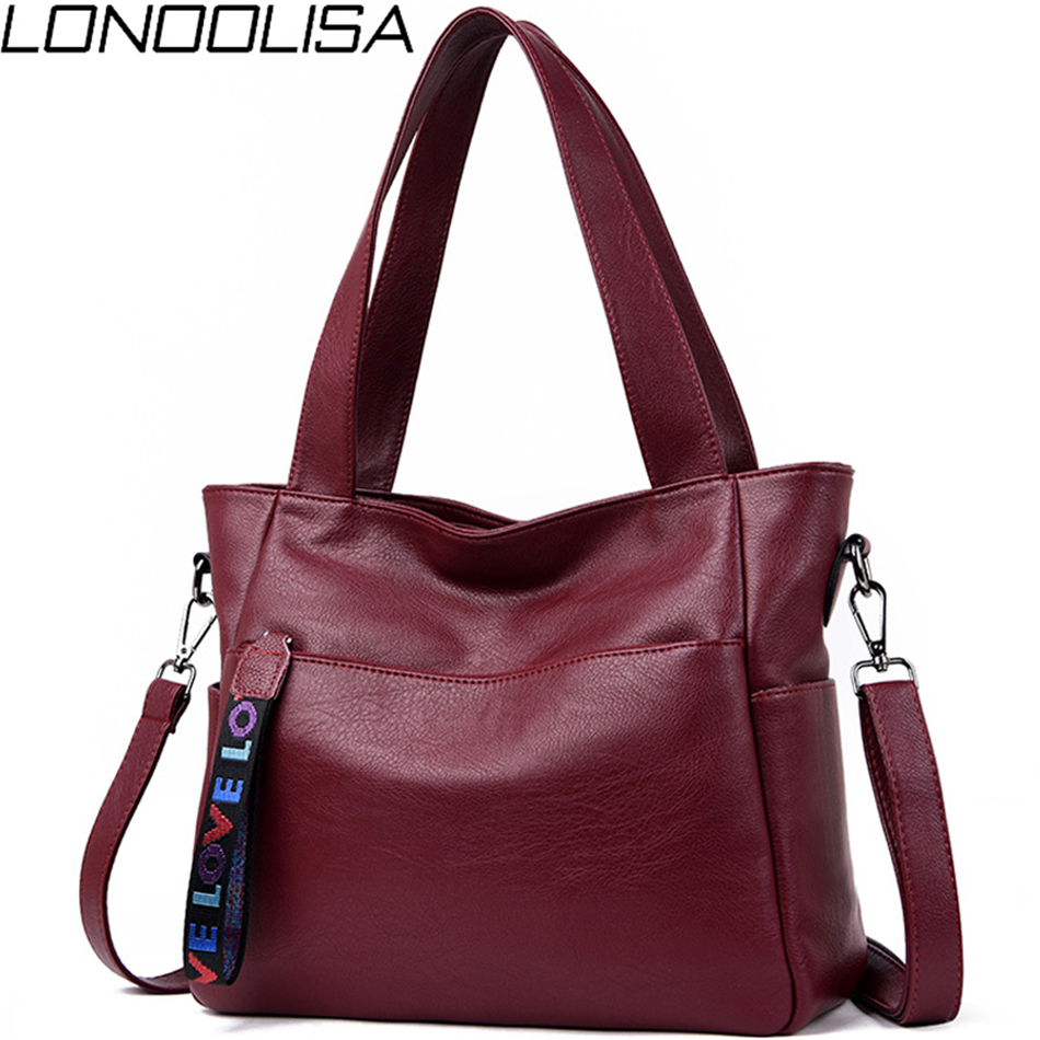LONOOLISA Brand Genuine Leather Bags For Women 2018 Luxury Handbags Women Bags Designer Big Ladies Shoulder Hand Bags Sac A Main