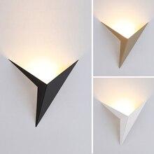 현대 미니 멀리 즘 삼각형 모양 LED 벽 램프 북유럽 스타일 실내 벽 램프 거실 조명 3W AC85 265V 조명 간단한 조명