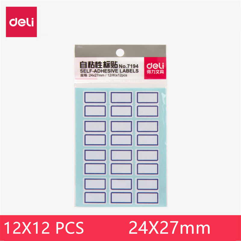 Deli 144 Labels Self-adhesive Label Stickers Handwritten Label Paper Signature Stickers 24X27MM Convenience Mark