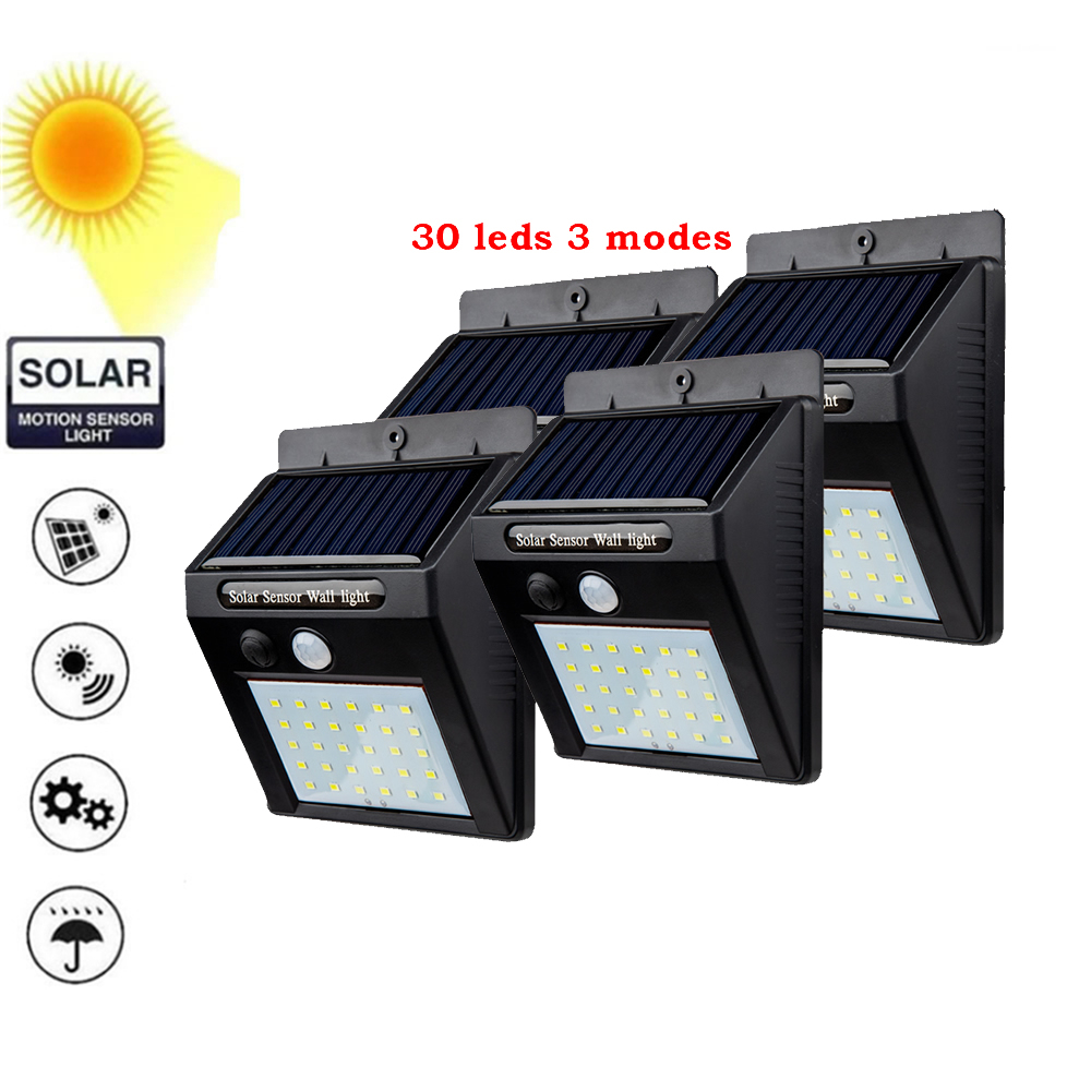 2/4PCS 30 LED Solar Light Three Modes Black White Waterproof Outdoor Garden Wall Fence Lamp With Mounting Pole Or Not 500 LM