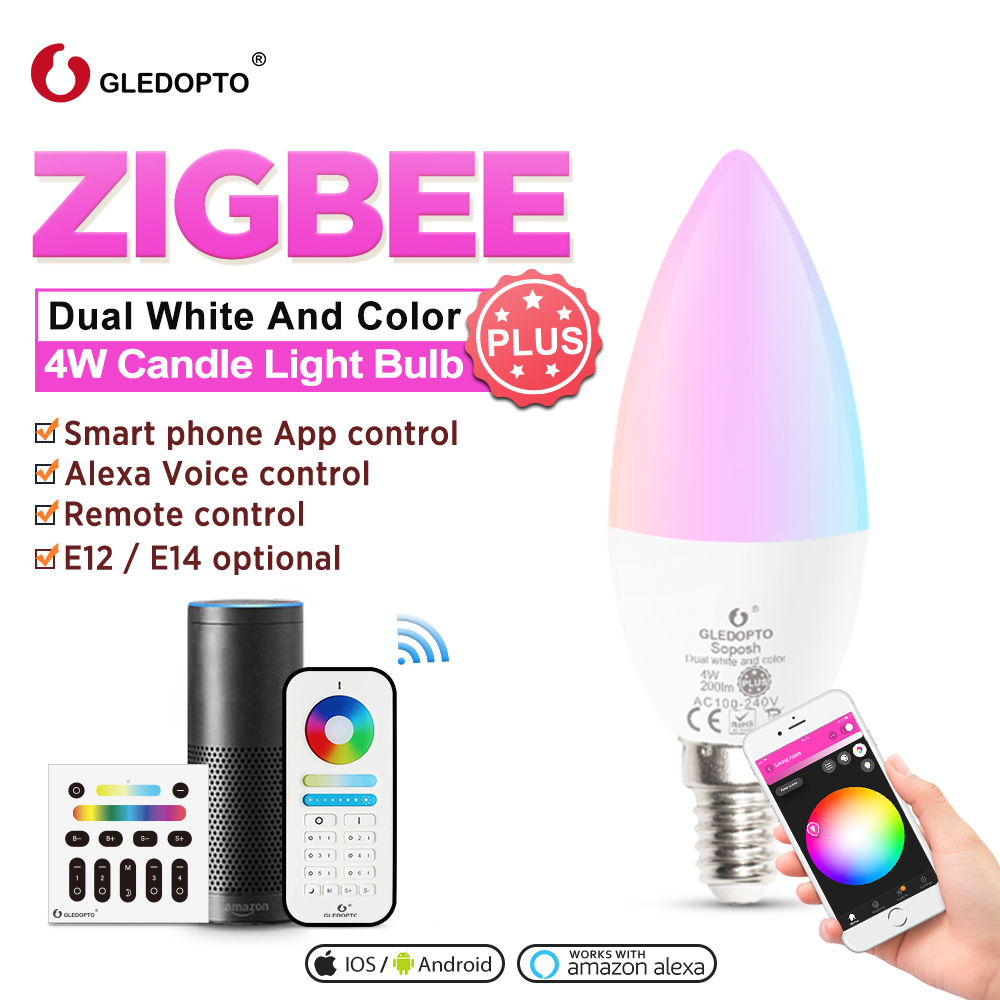 GLEDOPTO Zigbee Smart Candle Bulb Plus 4W E12/E14 Work With Zigbee Hub Alexa Echo Plus  RGB+CCT 2000K-6500K Remote Control LED