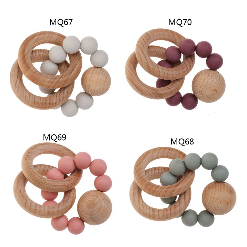 Baby Rattle Bracelet BPA Free Silicone Teether Organic Wooden Ring Teething Toy
