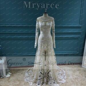 Image 2 - Mryarce vestido de noiva boho chique, moderno, único, vestido de noiva, com renda, mangas compridas, boêmio