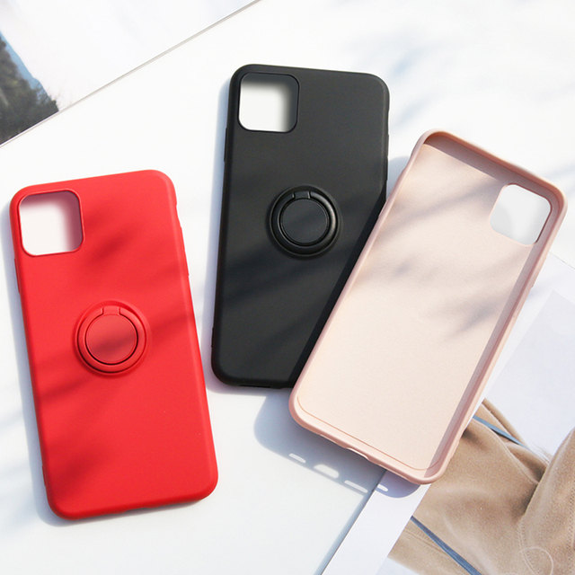 Soft Silicone,Cover,Case For iPhone 7 8 6 6S Plus X XS S 11 Pro Max XR Phone Stand Ring Holder Shockproof Armor Cover iPhone7 On