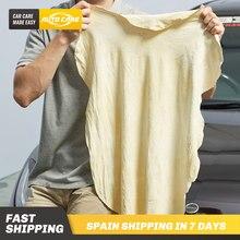 Lavagem de couro genuíno camurça absorvente toalha seca rápida streak livre lint cuidados com o automóvel couro camurça de limpeza de carro natural