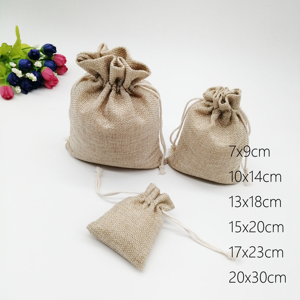 100pcs Jute Bags Gift Drawstring Pouch Gift Box Packaging Bags For Gift Linen Bags Jewelry Display Wedding Sack Burlap Bag Diy
