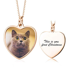 лучшая цена 2019 New Full Color Photo Picture Personalized Necklace Custom Etched Lovely Dog Cat Label Image Pendant with Message Name
