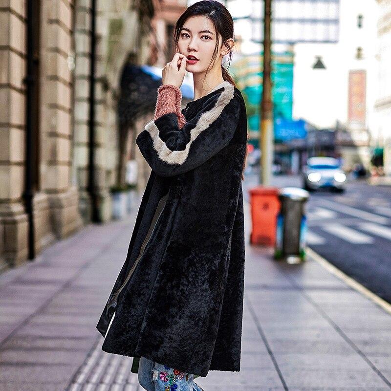 Sheepskin Genuine Fur Jackets 2020 Luxury Winter Jacket Women Sheep Real Fur Coat Female Natural Mink Fur Trim K71169