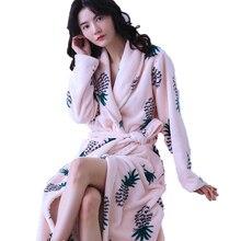 Женский фланелевый Халат кимоно с длинным рукавом и цветочным принтом