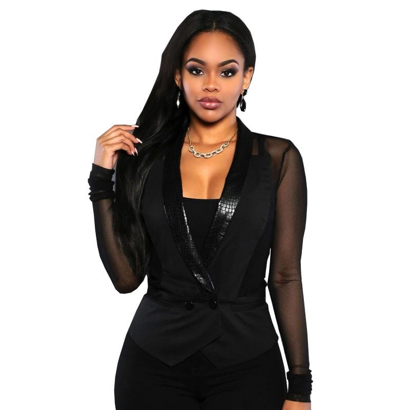 2016 Fashion Women Blazers And Jackets Mesh Long Sleeve Slim Blazer PU Leather Collar Short Blazer Women Outerwear & Coats S2411