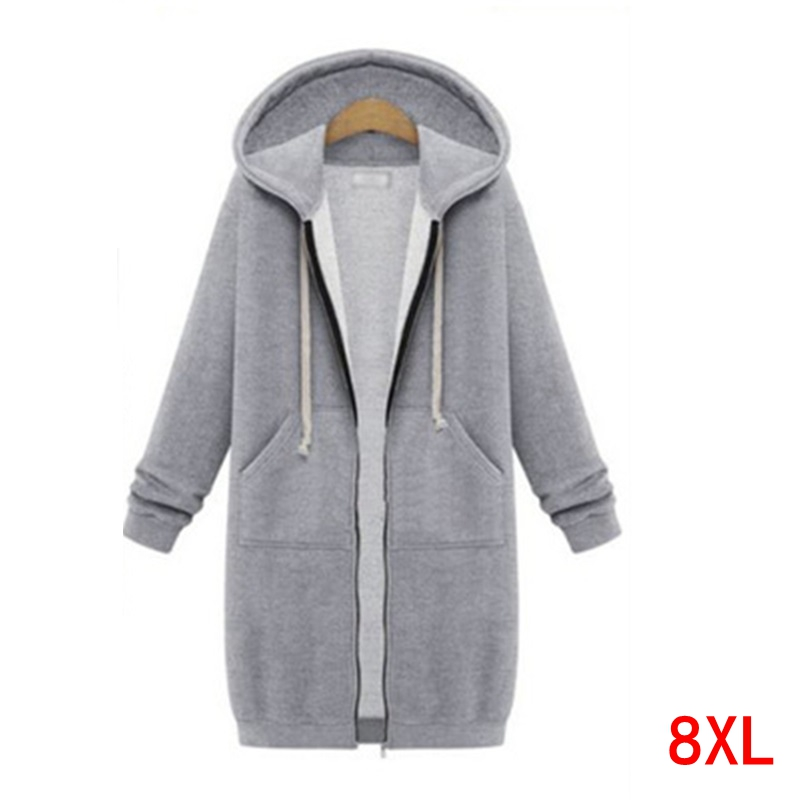 Plus Size 5XL 6XL 7XL 8XL Bust 130cm Large Size Women's Hoodie Autumn And Winter Long-sleeved Loose Large Size Sweatshirt Jacket