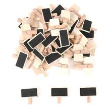 50 mini quadro negro mensagem de madeira ardósia retângulo clipe painel cartão memorandos etiqueta