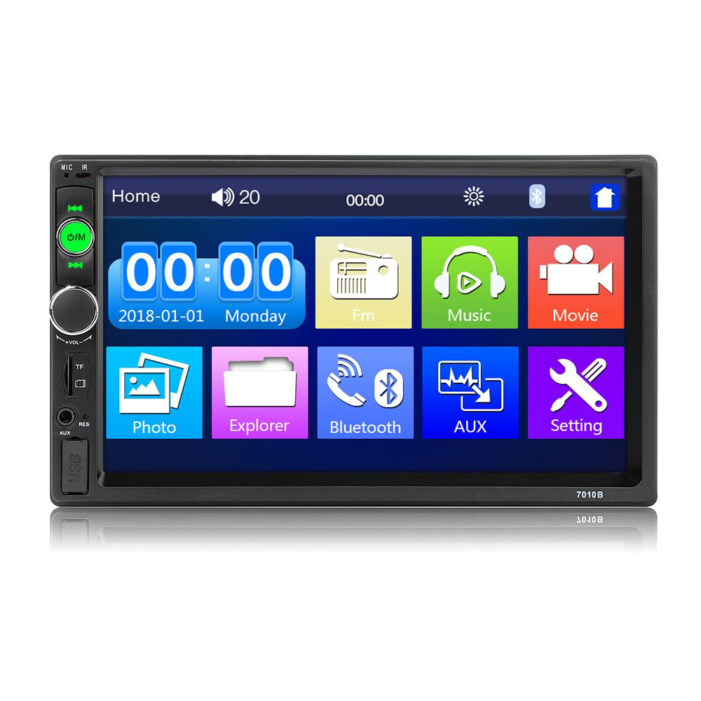 2 Din Auto Radio 7 LCD Touch Screen Multimedia Video Player Auto Audio Stereo Bluetooth Mirror Link Steering Wheel Control image