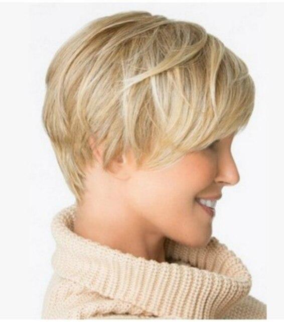 Pelucas de pelo corto, color marrón Rubio, para mujeres negras, capa recta Natural, pelucas hinchadas, pelucas de pelo femeninas resistentes al calor