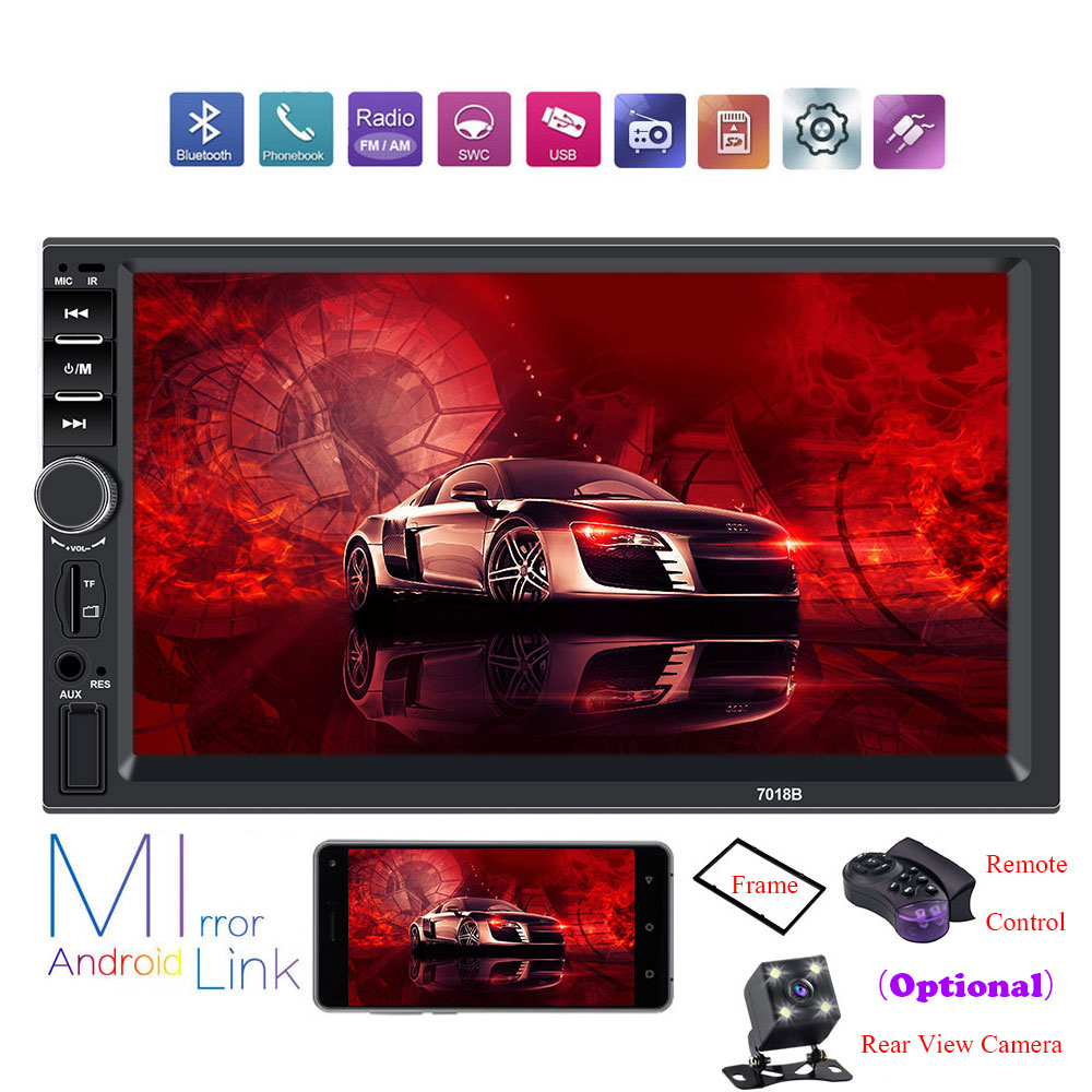 Radio Car Car-Player Central Touch-Screen Rear-View-Camera Multimidia 7018b 2-Din MP5