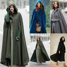 Long Women Cape Coat Polyester Hooded Solid Blue Cloak Single Breasted Three Quarter Sleeve Green or Gray Girl Capes 2019