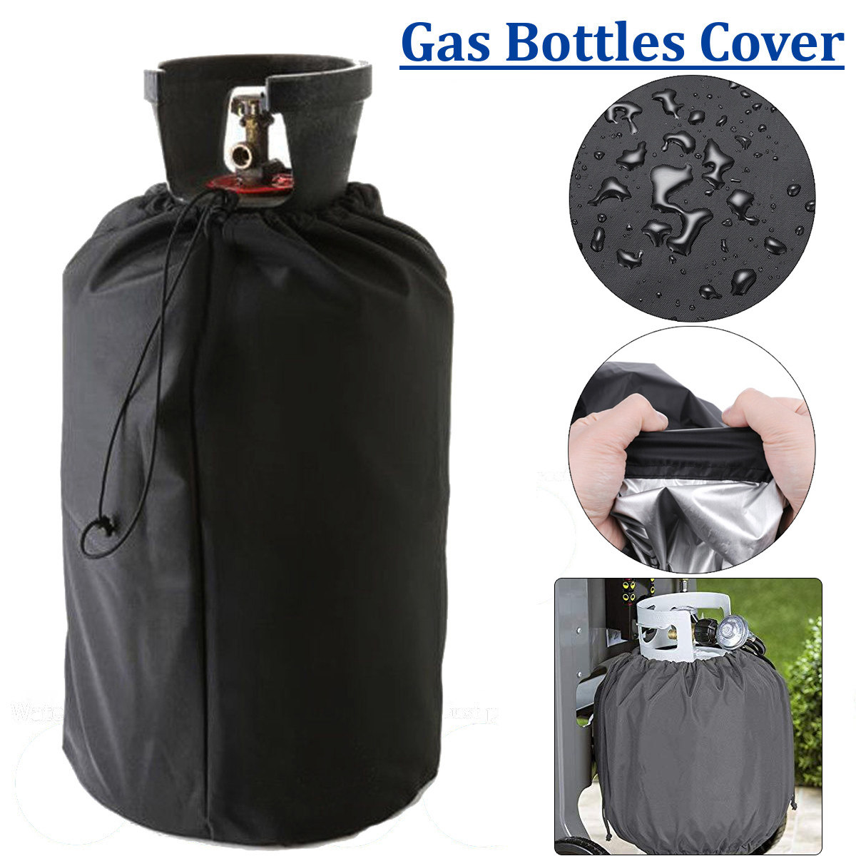 Gas Cylinder Cover Fits 30-Pound Steel Propane Cylinder QEES 30lb Ventilated Propane Tank Cover Heavy Duty Oxford Cloth MQGZ01 Waterproof Gas Grill Tank Protector