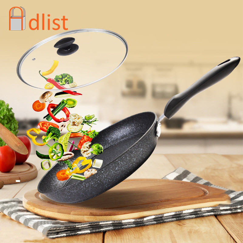 28cm Medical Stone Non-stick Frying Pan Pancake Steak Pans Skillet Wok Cooking Pot 30cm Kitchenware Cooking Tools With Soft Hand