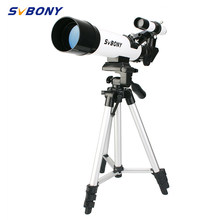 SvBony High Quality 60420 Refractive 60mm Kids Astronomical Telescope have Wide Angle Powerful Zoom Telescope with Tripod(China)