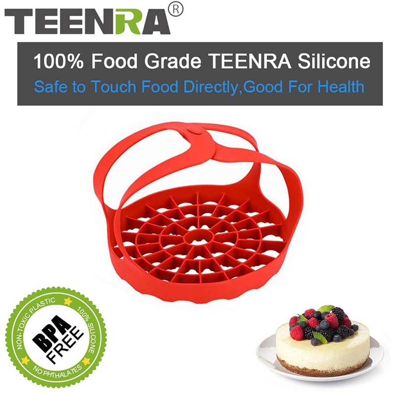 TEENRA 1Pcs Vegetable Silicone Stwamer Fruit Basket Heat Insulation Food Steamer Pot Bowl Fruit Basket Cooking Tools