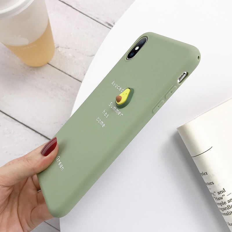 USLION 3D Bonbons Couleur D'avocat Lettre Doux Téléphone étui pour iphone 11 Pro XS MAX XR X Silicone étui pour iphone 7 6 6S 8 Plus Couverture