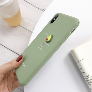 Image 5 - USLION 3D Candy Color Avocado Letter Soft Phone Case For iPhone 11 Pro XS MAX XR X Silicone Case For iPhone 7 6 6S 8 Plus Cover