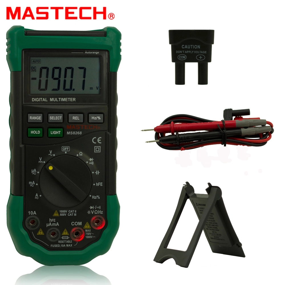 <font><b>MASTECH</b></font> <font><b>MS8268</b></font> Digital Multimeter Manual&Auto protection ac/dc ammeter voltmeter ohm Frequency electrical tester diode detector image