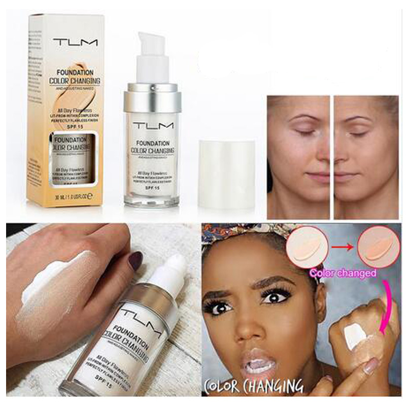 TLM 30ML Magic Color Changing Liquid Foundation Makeup Base Nude Face Cover Concealer Long Lasting Skin Tone