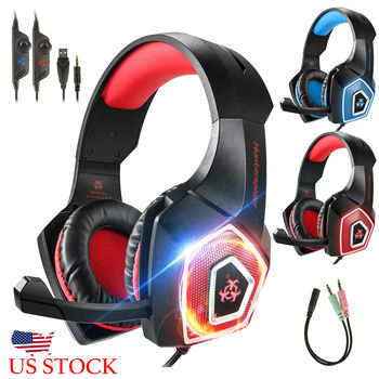 2020 Led Light Gaming Headphones 3.5mm Gaming Headset Mic LED Headphones Stereo Surround For PC PS4 Adjustable Bass Stereo 2