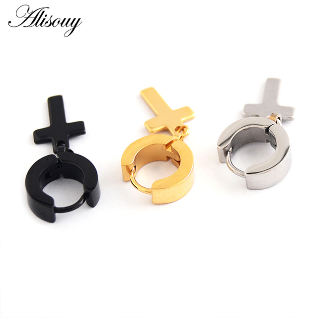 Alisouy 2pcs Women Men s Stainless Steel Dropping Earrings Black Silver Color Cross Gothic Punk Rock.jpg 640x640 - Alisouy 2pcs Women Men's Stainless Steel Dropping Earrings Black/Silver Color Cross Gothic Punk Rock Style Pendientes Mujer Moda
