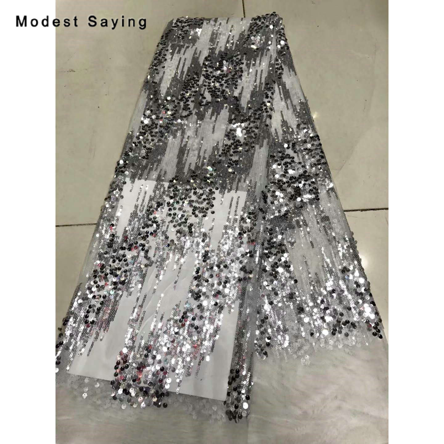 2 Yards Silver Sequins Tulle Fabric For Evening Dresses Wedding Party Oblique Sequins Cloth For Craft Mesh Decoration Material