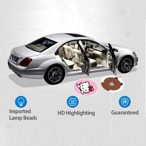 Image 2 - LED Laser Projektion Lampe Auto Dashboard Dekoration Auto Zubehör Innen Ornamente Auto Tür Drahtlose Licht