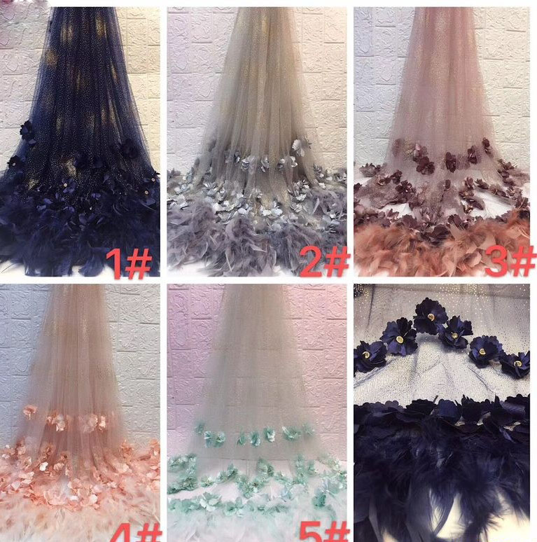 3d Flower Daston Feather Mesh Tulle Lace Embroidery Material Glitter Lace Hand Made Lace Evening Gown Lace Feather Lace Tulle