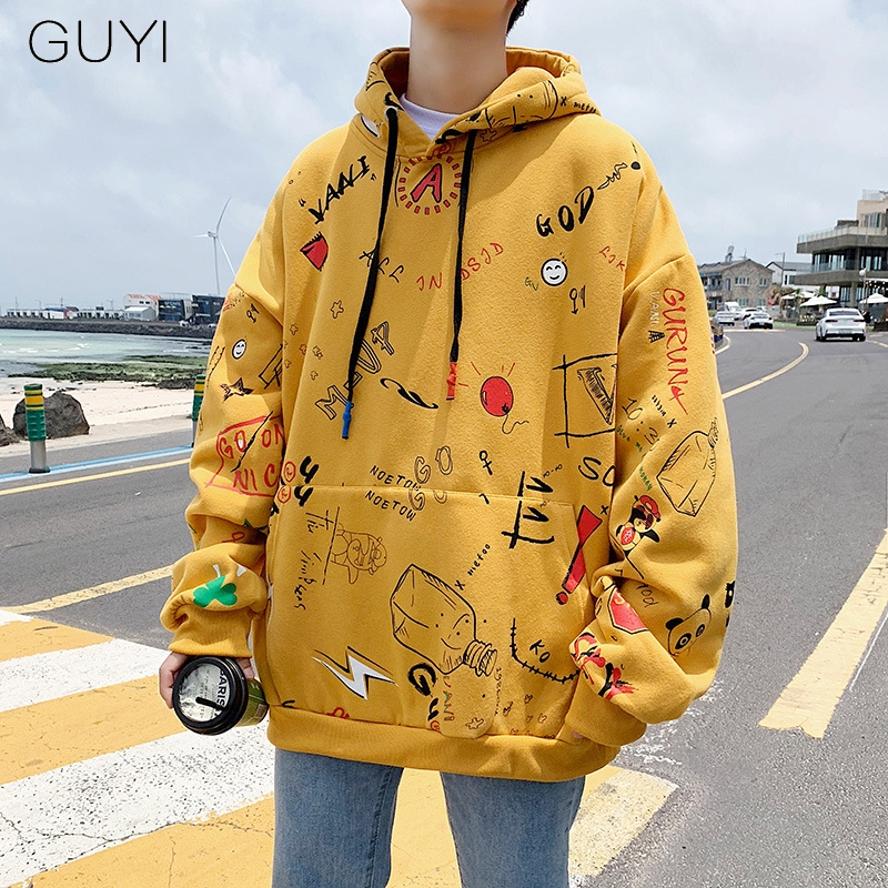 Graffiti Print Korean Style Yellow Casual Hoodies Sweatshirts For Men Couple Oversized Hooded Autumn Loose Fashion Tops Pullover