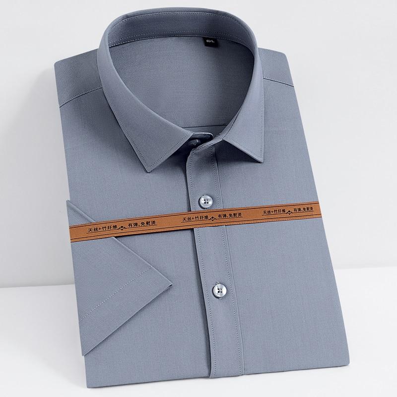 Men's Summer Short Sleeve Bamboo Fiber Dress Shirt Pocket-less Design Standard-fit Casual Solid Stretch Thin Easy Care Shirts